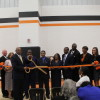 "Officials and staff of the Terrell County School System ""cut the ribbon"" at the new Copper Carver Elementary School. Pictured from left to right are: Staff Tonya Perkins, Principal Eddie Owens, Principal Loretta Williams, Superintendent Robert Aaron, Board Member Albert Crumbley, Board Chair Ray Moses, Vice Chair Mellean Davis , Board member Michael Oxford, Board Member John L. Gardner, Staff Tammie Jenkings, Staff Gina Webb, Staff Latasha Peters"